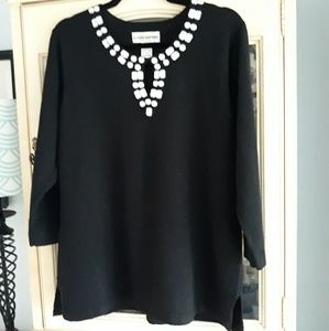 Ladies Large Black Sweater with bling!